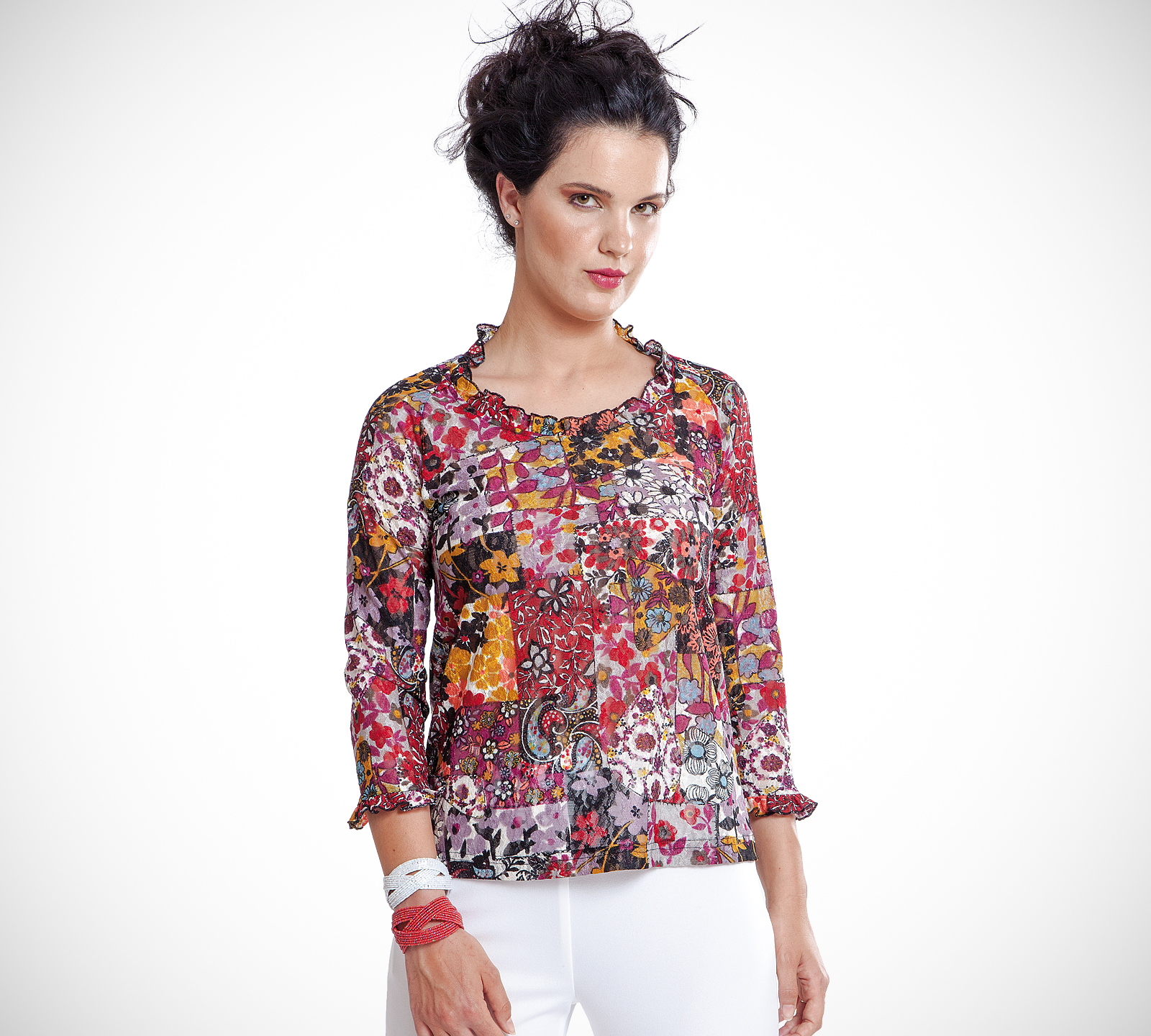 Virginia blusa stampata in tulle *